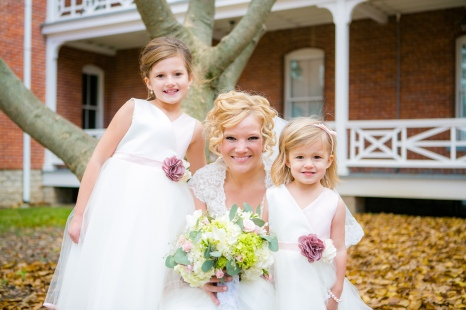 The sweetest flower girls I could ask for! Braved the windy cold, made it down the aisle, and twirled in their princess dresses with me. beautiful.